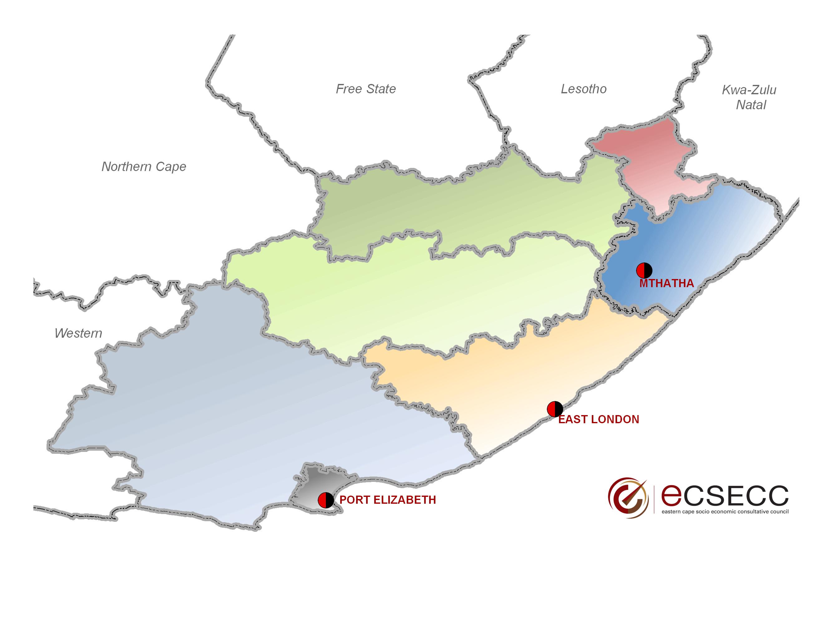 Basic Map Of London.Eastern Cape District Municipalities Basic Map Ecsecc